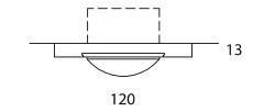 ONYXX.LED – BASE 1 – Deckenleuchte - Strichzeichnung mit Bemaßung