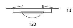 ONYXX.LED – BASE 2 – Deckenleuchte - Strichzeichnung mit Bemaßung