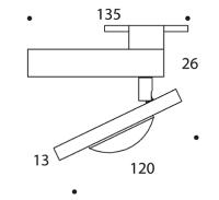 ONYXX.LED – INFINITY – Strahler für 230V Stromschiene - Strichzeichnung mit Bemaßung