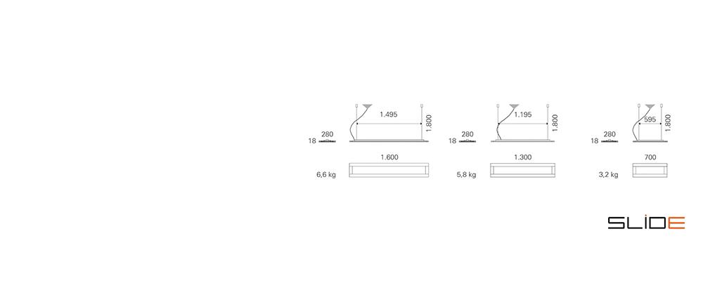 Strichzeichnung SLIDE_Office – T5 – Deckenleuchten